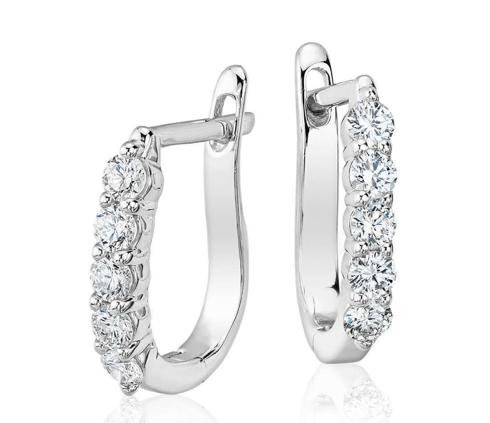 Natural Diamond Studded Hoop Earring Clip On 18k Solid White Gold Real Hoops Product