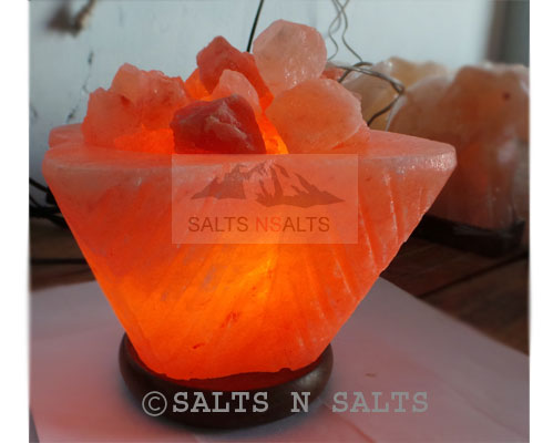 Square Bowl salt lamp with chunks