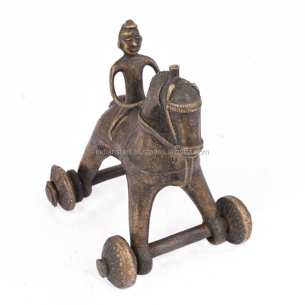 Handmade Indian Antique Bronze Brass Horse On Wheel Temple Toy 15 x 14 cm SBG-295