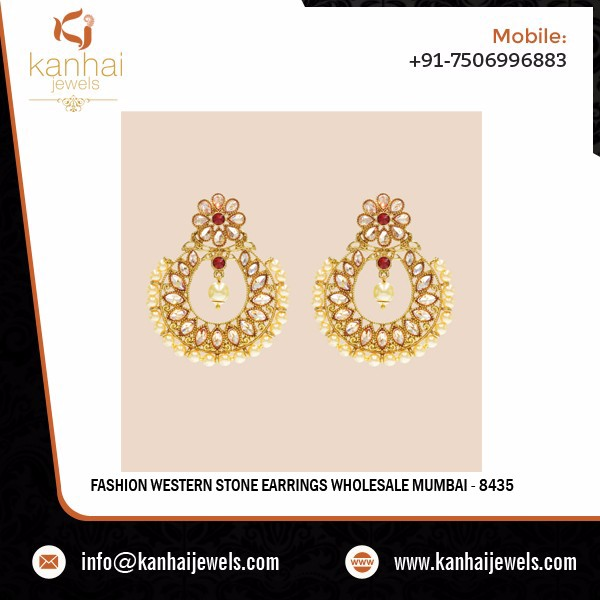 Fashion Western Stone Earrings Wholesale Mumbai - 8435