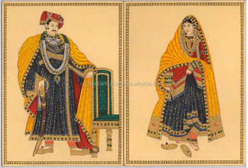 Ethnic King Queen Painting Portrait Water Color Paper Rajasthani Miniature Art