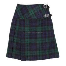 Ladies Girls Women Black Watch Tartan Pleated Mini Billi Skirt