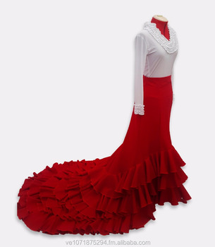 8c3766e1b Cola Larga Falda Bata De Cola Flamenco Danzas - Buy Flamenco Product on  Alibaba.com