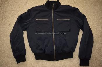 Quilted Black Nylon Bomber Flight Jacket\plain Black Bomber Jacket ...