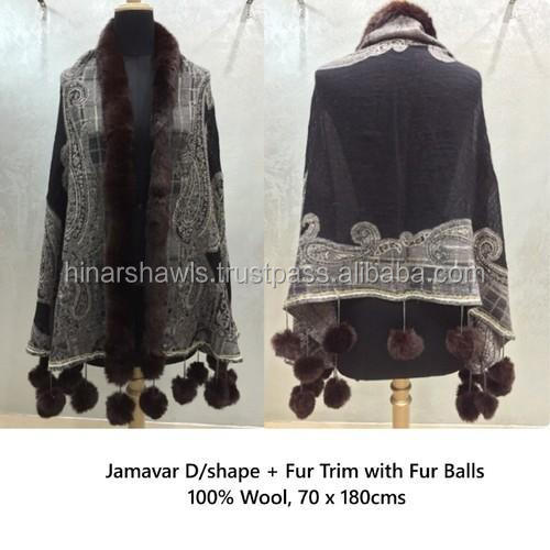 Wool Jamavar D/Shape Fur Trim shawls with Fur balls