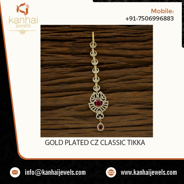 Gold Plated American Diamond Classic Maang Tikka 52710
