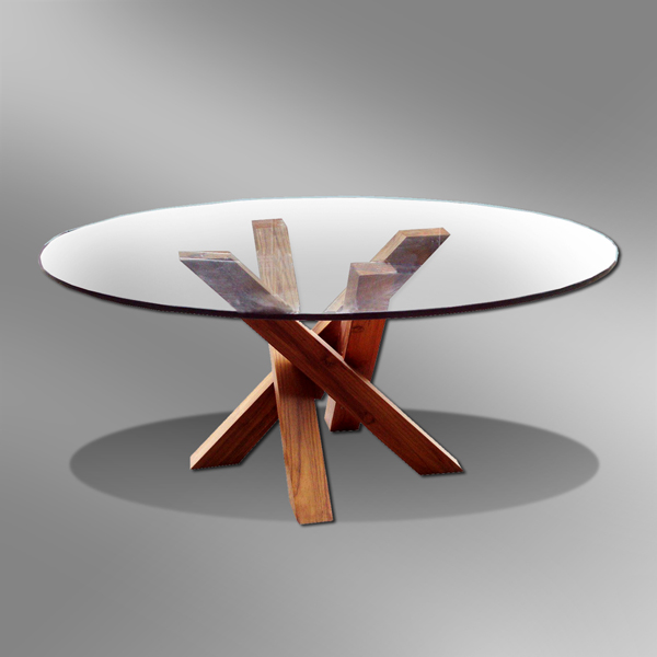 Modern Round Coffee Table with Glass Top - Kalimantan Design
