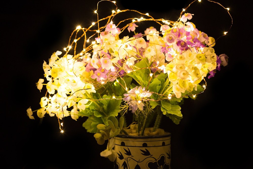 Decorative led tree flower lights vase lights for holiday decoration led copper wire string lights : flower light vase - startupinsights.org