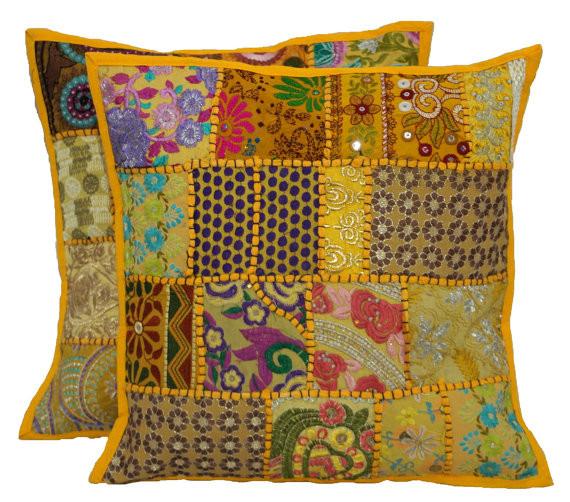 Indien soie satin velours patchwork coussin couverture