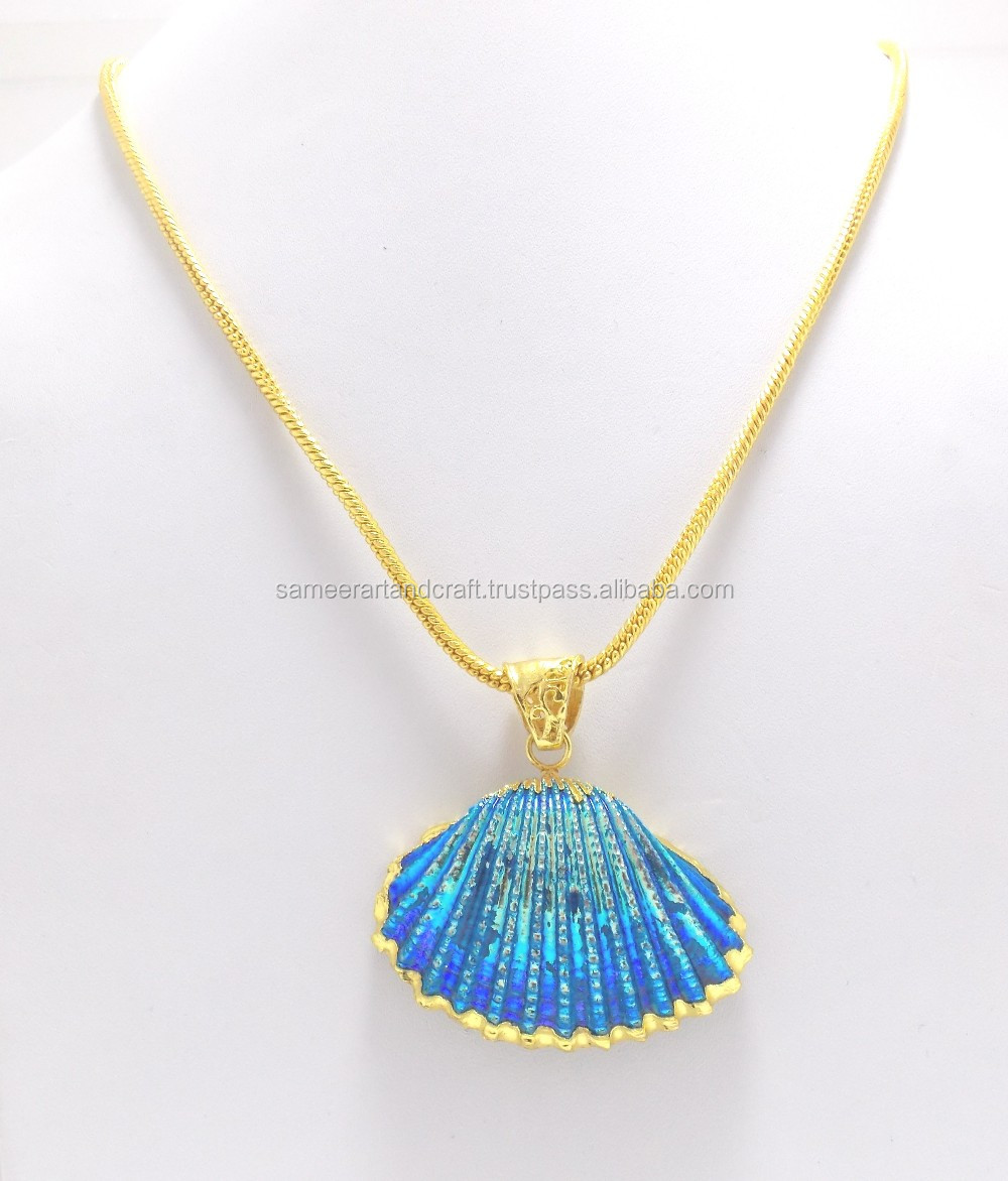 Electroplated gold plated natural shell necklace pendants