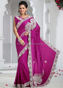 f2bbab796f Purple stylish lehenga style saree - Heavy satin bridal stone work lehenga  saree - Latest hand