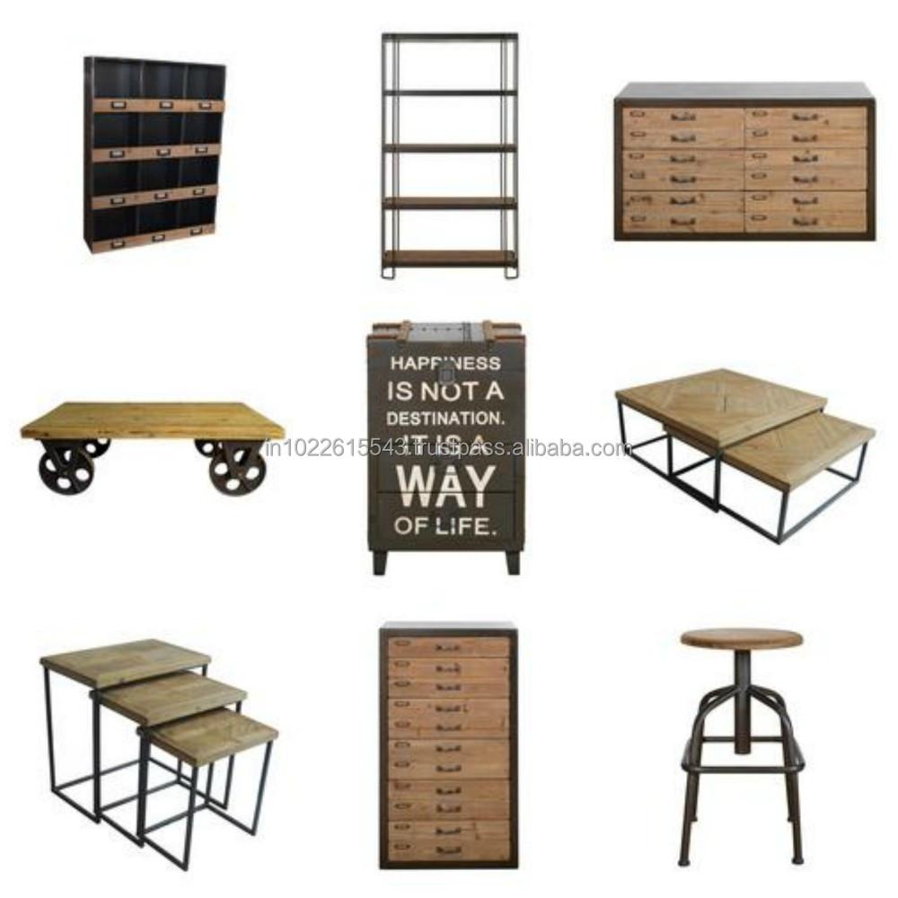 De metal de madera muebles de estilo industrial exportador for Muebles de estilo industrial barato