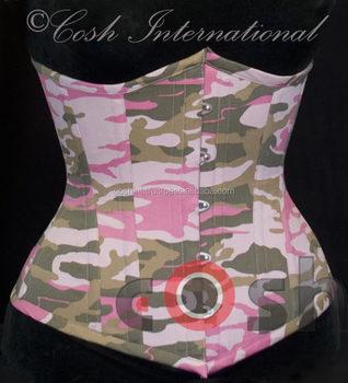 a341560438 Corset Supplier 100% Cotton Green Pink Camo Double Steel Boned Corset