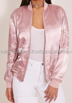 Women's Pink Satin Bomber Jacket\new Fashion Garment Custom ...