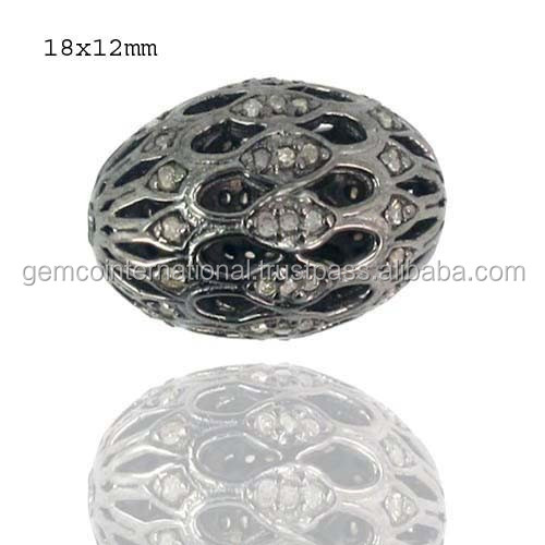 925 Sterling Silver Pave Diamond Beads Finding Jewelry Diamond Costume Findings Jewelry Wholesaler