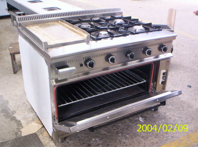 Restaurant Kitchen Oven 4 burners with oven gas range hotel kitchen equipment/industrial