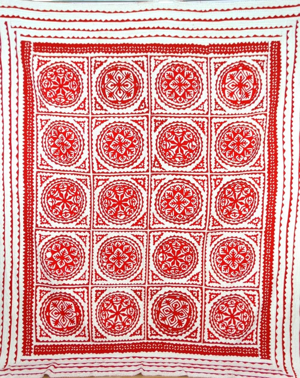 Red Applique Kantha Quilt Patchwork Bedspread Cotton Handmade ...