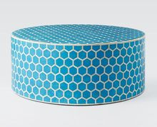Round Wooden Stool in MDF Board Covered with Resin for Indoor & Outdoor.