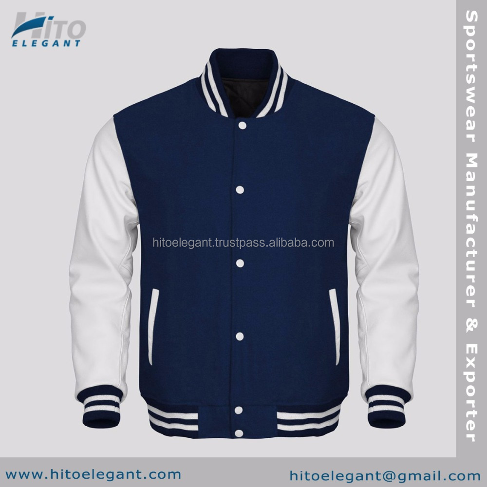 White Faux Leather Sleeves Navy Wool Varsity 2016 Stylish Faux Suede Bomber Jacket For Men Winter Clothes Wholesale HE-FVJ-2194
