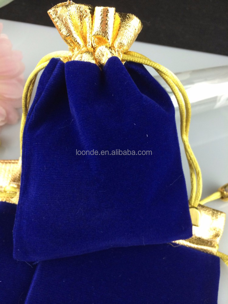 048a747c0b1cfc Recycle gold top royal blue wedding favor velvet gift bags for sweet indian
