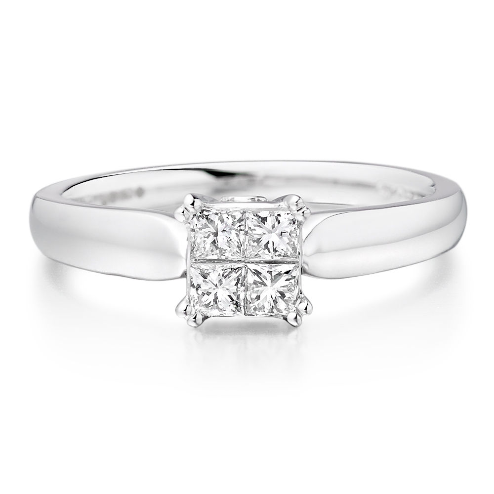 Certified 0.60Tcw SI2 Clarity Real Natural White Princess Diamonds 14Kt White Gold Engagement Ring at Factory Price