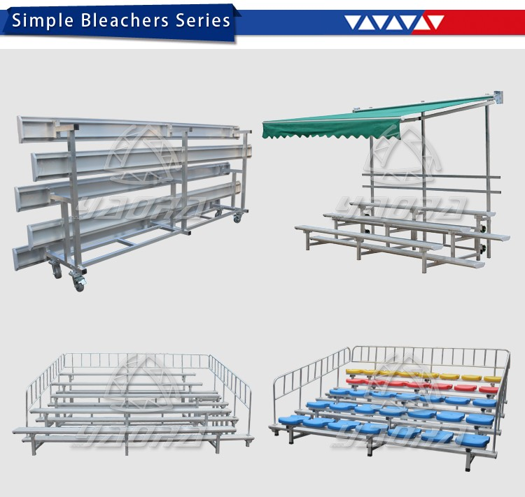 Tilt & Roll Portable Bleacher Bench Bleacher with Fold up Tipping Arms