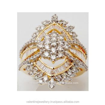 Beautifully Designed Big Yellow Gold Diamond Ring Exporter Buy