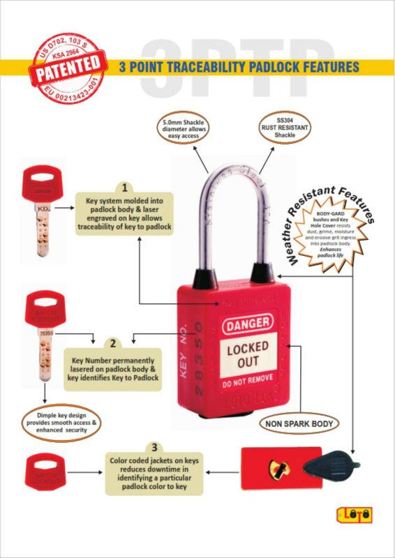 Loto Lok 3ptp Safety Padlock Plastic,Key Different,Red