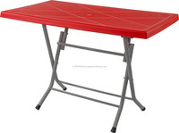 cheap plastic folding table with metal leg