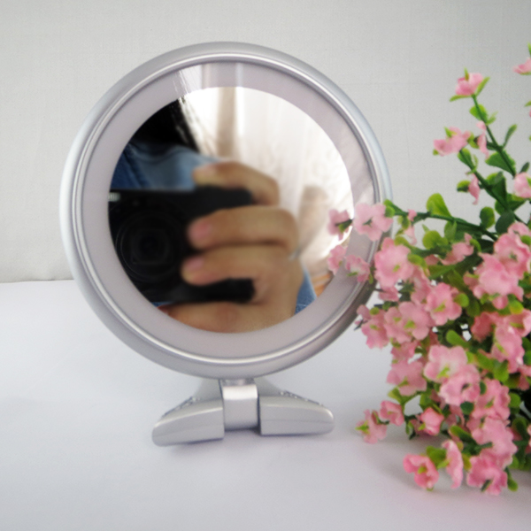 Folding Round Handheld Makeup Mirror Double Sided Lighted