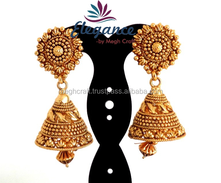 2017 Gold Plated Jhumka Earrings Whole South Indian Pearl