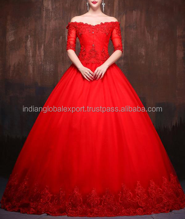 c27723390 Ball Gown Wedding Gown In Red Color. - Buy Elegant Fit And Flare ...