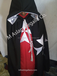 Knight Templar Gown and Vest , Knight Templar Black Gown and Red Tunic