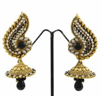 Bollywood Dangle Jhumka Earrings Chandelier Goldtone Black Asian ...