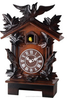 12-inches Quartz Traditional Handcrafted Carving Solid Wood Cuckoo Desktop Clocks, Home Decor, Timepiece - C00199