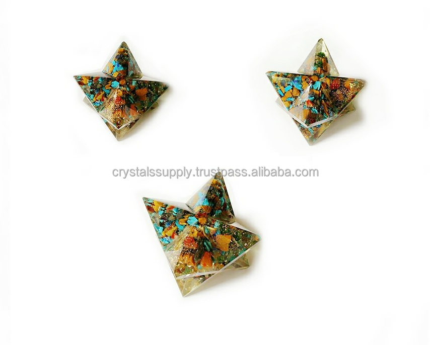 Orgone Merkaba Star : Chakra Orgone Merkaba Star Set For Sacred Geometry Balancing : Wholesale Orgone Products