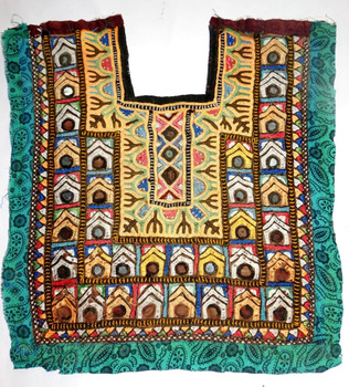 Vintage Hand Embroidery Sewing Craft Neck Yoke Indian Handmade Patch