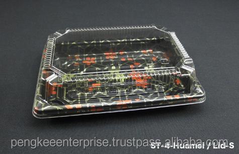 Plastic Box St-4 Sushi Tray W/lid