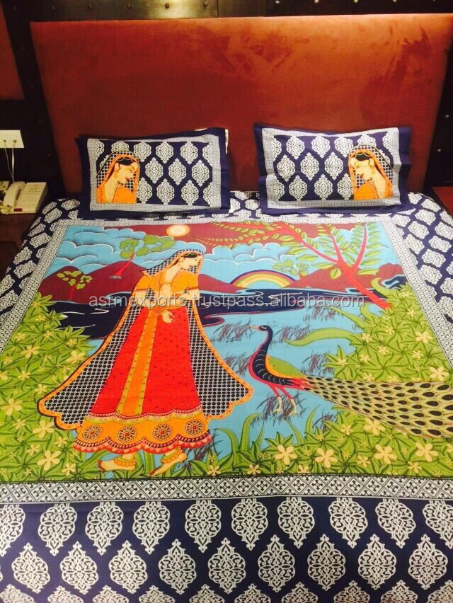 Wholesale Beautiful lady and Peacock design Pigment Hand Printed Traditional Rajasthani 100% Cotton Indian Bed Sheet Bedspread