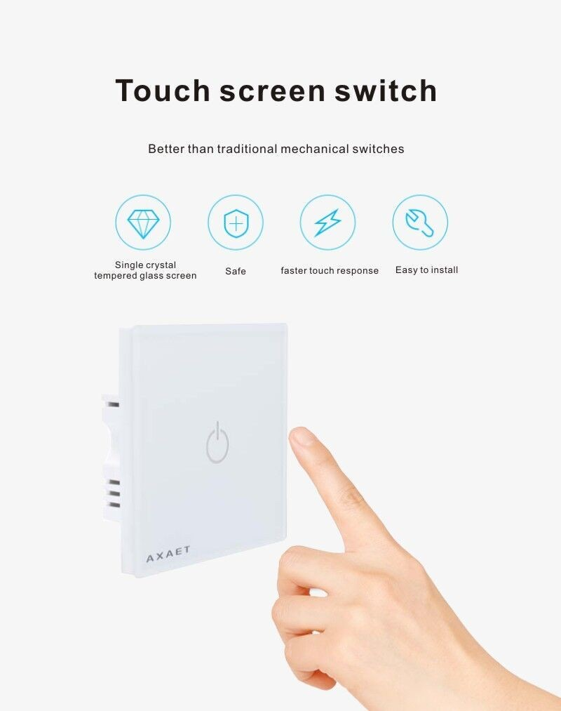 2018 hot sell Smart switch screen touch remote control intelligent wall switch signal live line smart wall switch