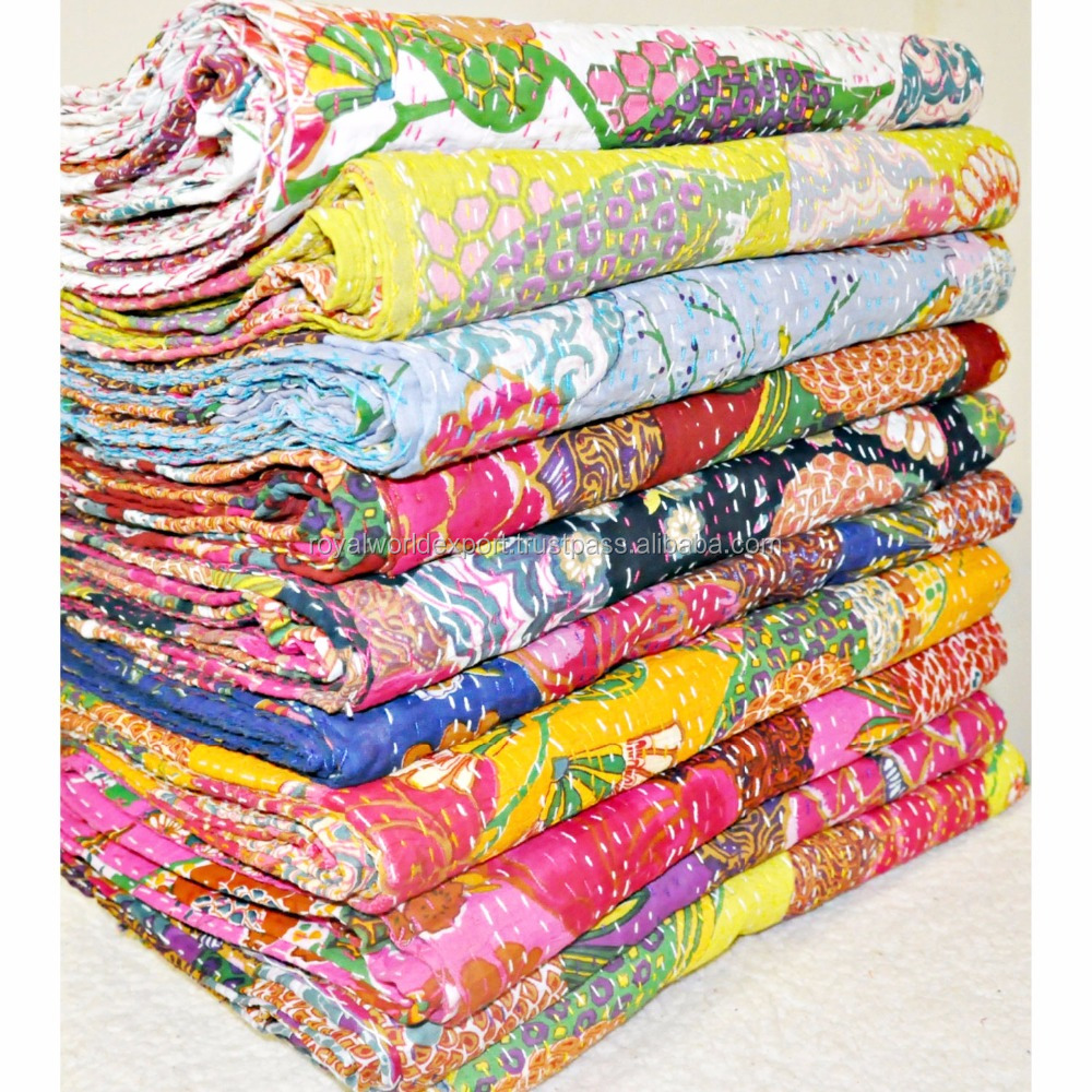 2016 fast supplier kantha quilt for sale wholesale handmade india kantha silk bed covers quilts