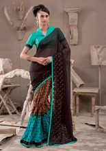 Blue and Brown Colored Georgette Saree | Sari Blouse Stitching