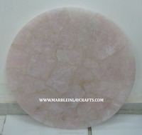 Round Shape Gemstone Rose Quartz Coffee Table top