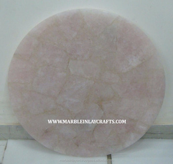 Round Shape Gemstone Rose Quartz Coffee Table Top Buy Rose