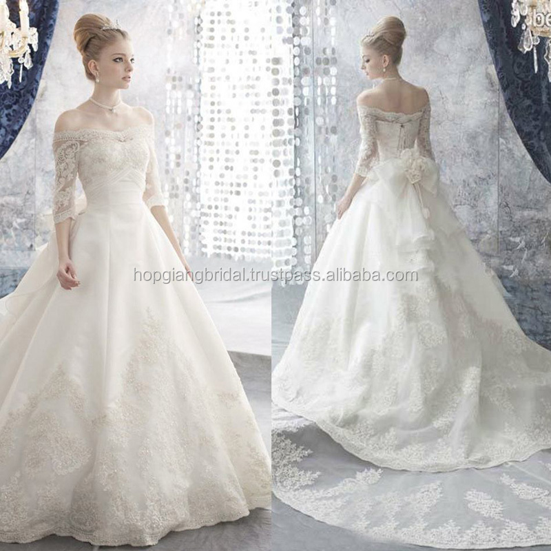 Ball Gown Lace Wedding Dress Patterns Gorgeous Hot Style Long Sleeve