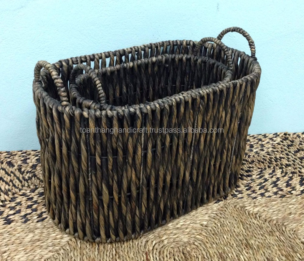 Handmade Seagrass Baskets : Handmade colorful decorative seagrass storage baskets