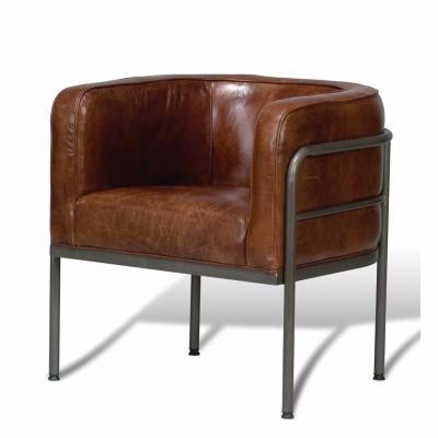 Aged Metal Cuba Brown Chair,Vintage Tub Chair,Vintage Industrial Leather  Chair