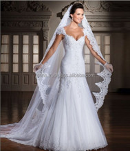 Custom Made Vestido De Noivas New Design Backless Appliques Lace Up Back Bridal Gown Wedding Dresses With Detachable Train