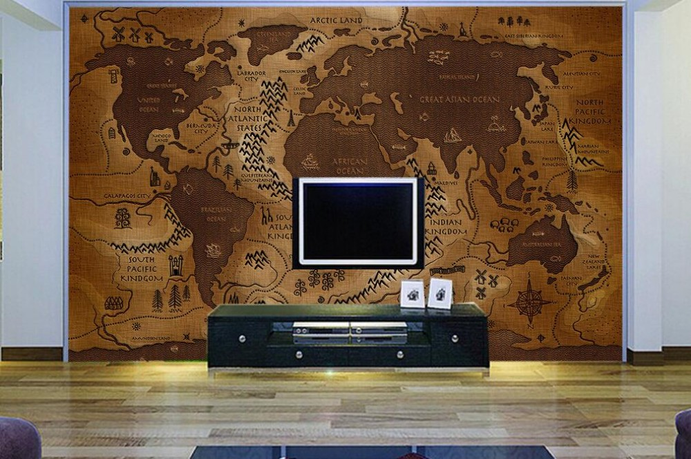 World Map Vinyl Wallpaper Waterproof Wallpaper For Bathrooms 3d Name