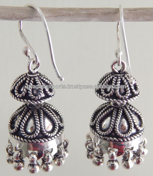 Unique Design Indian Silver Jhumkas